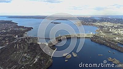 乌克兰,扎波罗热市航空全景 大坝与扎波罗热市总体规划 影视素材