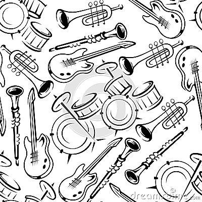 乐器简笔画_乐器减速火箭的无缝的样式