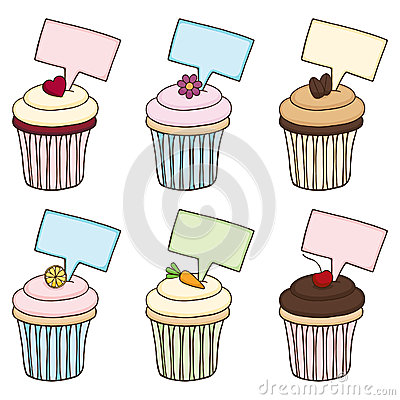 乱画杯形蛋糕设置与符号