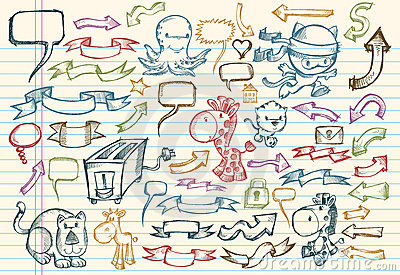 乱画笔记本集合草图向量