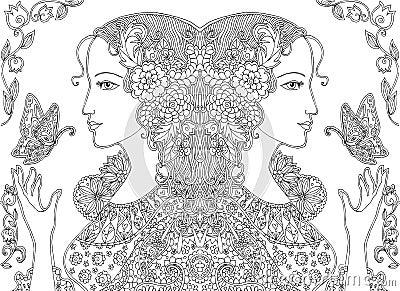 乱画美丽的妇女图画有蝴蝶和花的 也corel凹道例证向量.