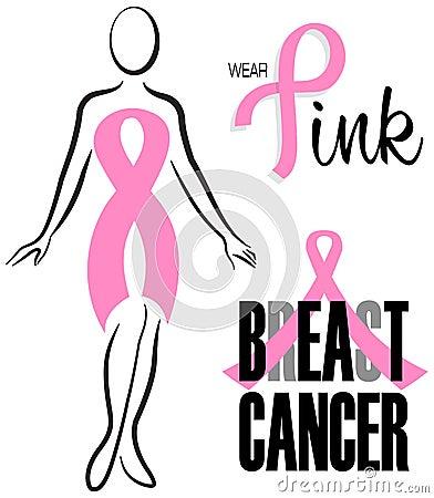 乳腺癌桃红色丝带夹子集合