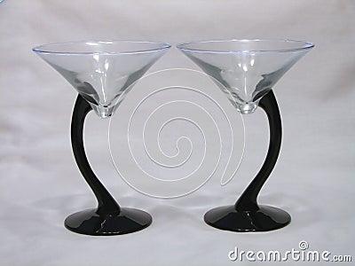 二重奏玻璃马蒂尼鸡尾酒