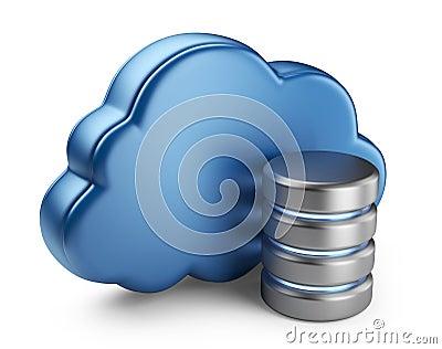 云彩计算和数据库. 3d在空白背景查出的图标.图片