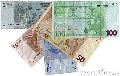 五颜六色的不同的欧元查出储蓄财富