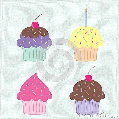 五颜六色的杯形蛋糕