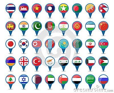 亚洲各国的国旗_套亚洲的国旗标志形状设计的.