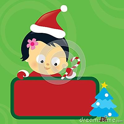 亚洲婴孩棒棒糖逗人喜爱的女孩藏品符号. -亚洲婴孩圣诞节女孩藏品符