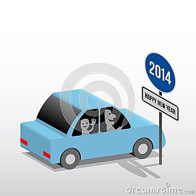 在路标新年快乐, 3d动画片例证的蓝色汽车.图片