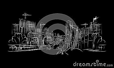 交通路剪影在您的设计的城市