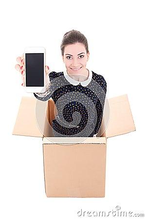 交付-拿着有blan的纸板箱的妇女手机