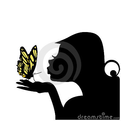 亲吻向量妇女的蝴蝶