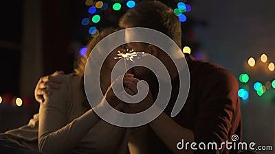 亲吻在与孟加拉光的圣诞装饰附近的热情的夫妇在手上 影视素材
