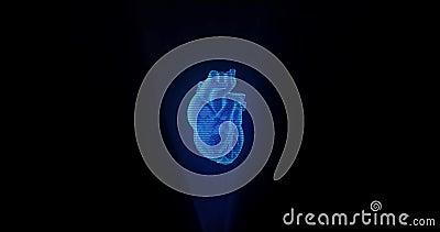 人体三维心脏全息图的显示屏 影视素材