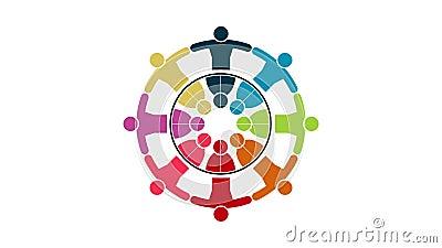 人商标 小组八个人的配合标志圈子的 4K决议行动图表