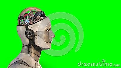 人工智能,机器人脑子,技术,被隔绝的绿色屏幕