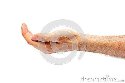 人的手凹陷。