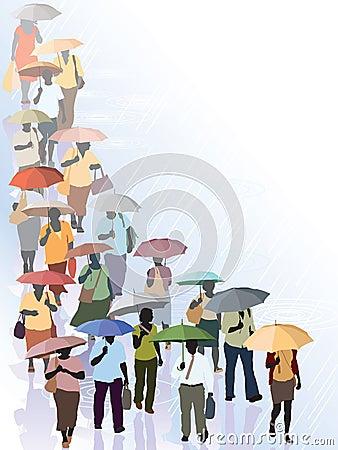 人群在雨中图片