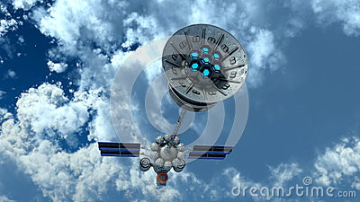 3d一枚人造卫星的例证.图片