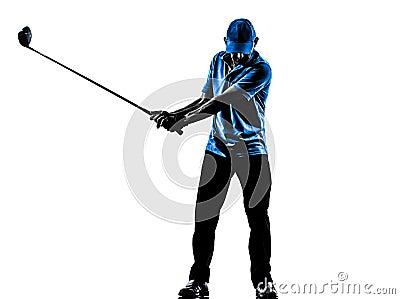 人高尔夫球运动员打高尔夫球的高尔夫球摇摆剪影
