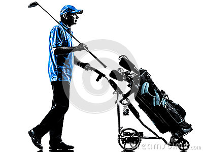 人高尔夫球运动员打高尔夫球的高尔夫球袋剪影