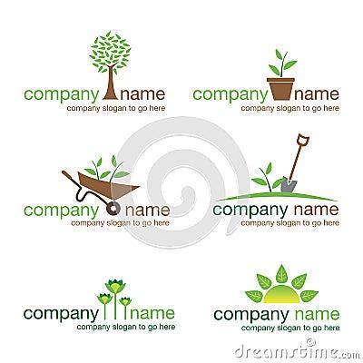 从事园艺的徽标本质设置了六向量
