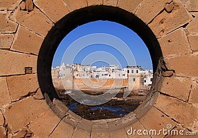 从水平的垒的摩洛哥Essaouira -