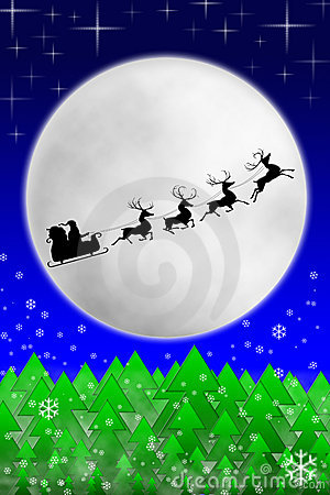 他的乘坐圣诞老人的月亮驯鹿