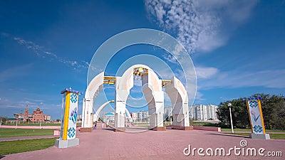 以哈萨克斯坦共和国的第一位总统命名的公园在阿克托比timelapse hyperlapse城市 股票录像