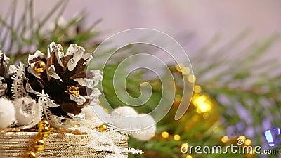 以杉木锥体和闪动的诗歌选的形式新年和圣诞节装饰 影视素材