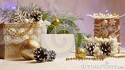 以杉木锥体闪动的诗歌选的形式新年和圣诞节装饰 股票视频