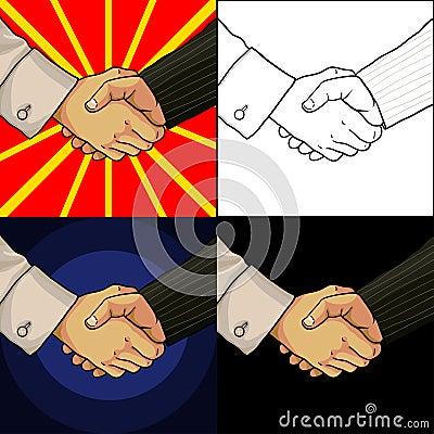 套企业握手两个人的动画片手.图片