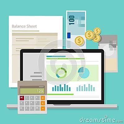 会计学软件资产负债表金钱计算器应用膝上型计算机传染媒介.