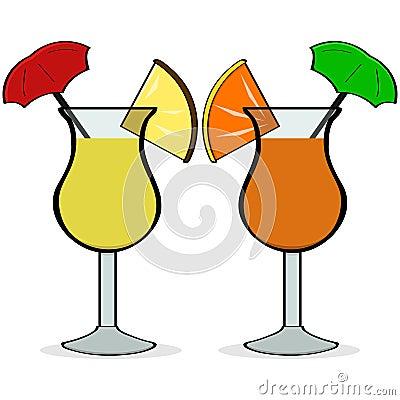 显示一个对花梢的动画片例证喝与小的伞和果子在他们.图片