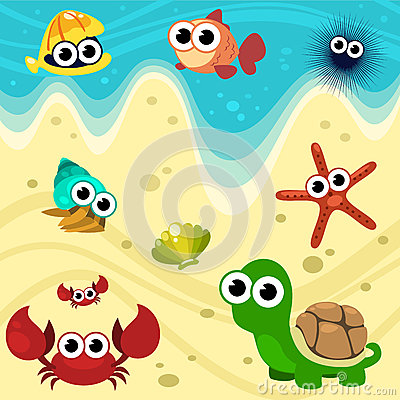 导航动画片与蛤蜊,鱼,海胆,茧,壳,海星,螃蟹和乌龟的海滩动物 在图片