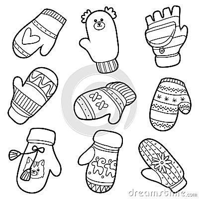 傳染媒介套不同的冬天手套 黑白套有動物和幾何樣式的被編織的手套.圖片