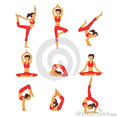 传染媒介瑜伽例证 瑜伽集合 背景执行女孩健康查出的s衬衣体育运动图片