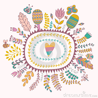 传染媒介装饰框架和叶子 春天元素 花卉乱画图片