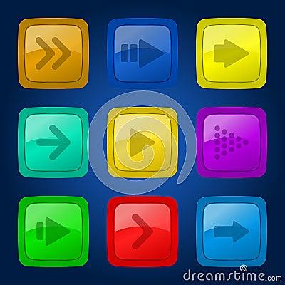 传染媒介集合五颜六色的按钮。