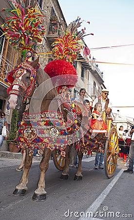 传统西西里人的马购物车 编辑类库存照片