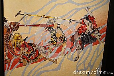 日本传统绘画_成田,日本- 2015年3月4日-传统日本武士绘画,成田,日本.