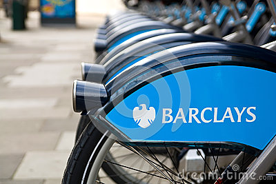编辑类库存图片: 伦敦公共自行车