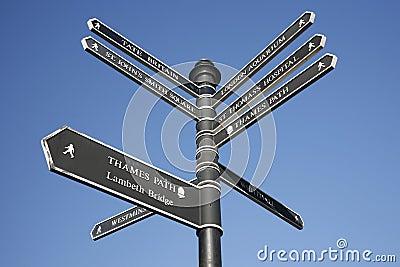 签字与方向对伦敦的地标蓝天.