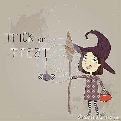 作为巫婆打扮的一个小女孩的例证.图片
