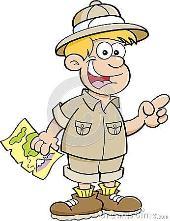 作为探险家打扮的动画片男孩图片