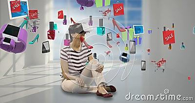 使用有数位引起的销售象的4k的妇女虚拟现实耳机 股票视频