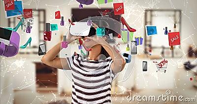 使用有数位引起的销售象的4k的妇女虚拟现实耳机 股票录像