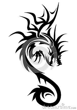 例证与在白色背景隔绝的翼的龙标志. 凉快的纹身花刺.