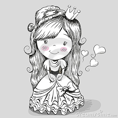一位逗人喜爱的童话公主的黑白画象灰色背景的.图片