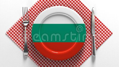 保加利亚国菜 欧洲美食 盘子上挂着保加利亚国旗 股票录像